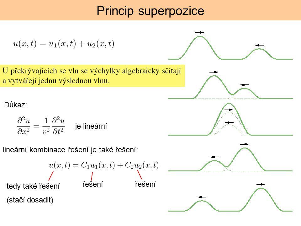 Princip superpozice je lineární lineární kombinace řešení je také řešení: řešení tedy také řešení (stačí dosadit) Důkaz: