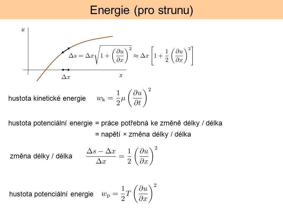 x u hustota kinetické energie hustota potenciální energie = práce potřebná ke změně délky / délka = napětí × změna délky / délka změna délky / délka hustota potenciální energie Energie (pro strunu)