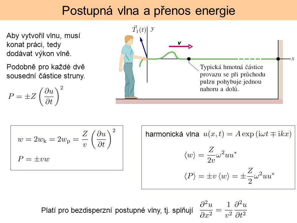 Postupná vlna a přenos energie Aby vytvořil vlnu, musí konat práci, tedy dodávat výkon vlně. Podobně pro každé dvě sousední částice struny. y Platí pr