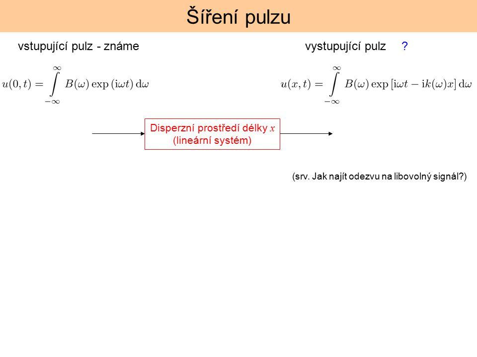 Šíření pulzu Disperzní prostředí délky x (lineární systém) vstupující pulz - známe? (srv. Jak najít odezvu na libovolný signál?) vystupující pulz