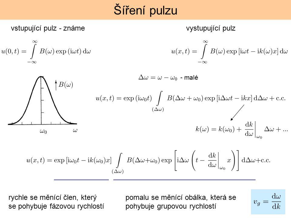 Šíření pulzu vstupující pulz - známe vystupující pulz - malé rychle se měnící člen, který se pohybuje fázovou rychlostí pomalu se měnící obálka, která se pohybuje grupovou rychlostí