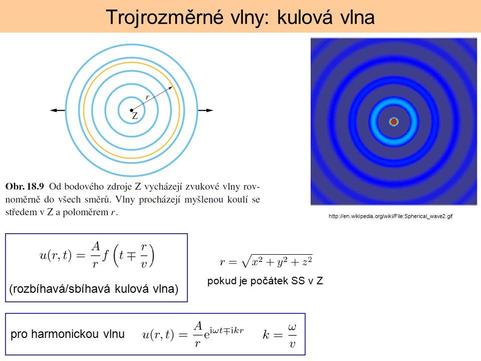 Trojrozměrné vlny: kulová vlna http://en.wikipedia.org/wiki/File:Spherical_wave2.gif pokud je počátek SS v Z (rozbíhavá/sbíhavá kulová vlna) pro harmonickou vlnu