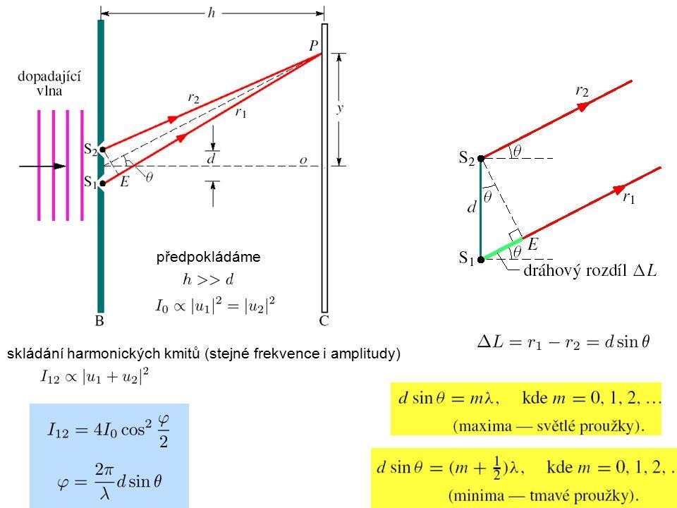 skládání harmonických kmitů (stejné frekvence i amplitudy) předpokládáme
