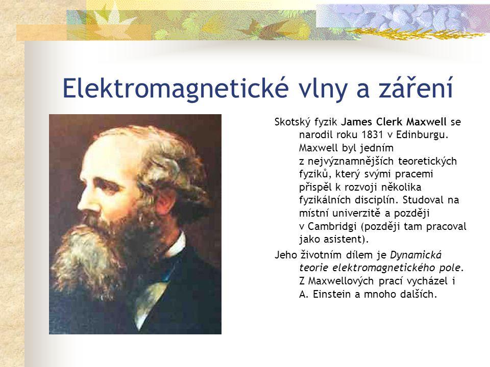 Elektromagnetické vlny a záření Skotský fyzik James Clerk Maxwell se narodil roku 1831 v Edinburgu.