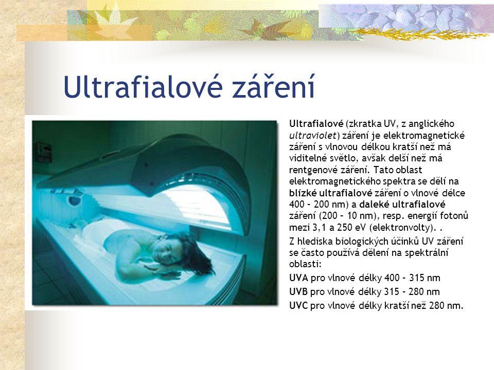Ultrafialové záření Ultrafialové (zkratka UV, z anglického ultraviolet) záření je elektromagnetické záření s vlnovou délkou kratší než má viditelné světlo, avšak delší než má rentgenové záření.