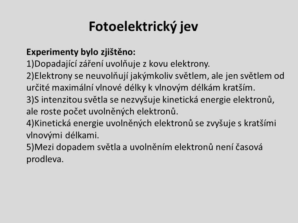 Fotoelektrický jev Experimenty bylo zjištěno: 1)Dopadající záření uvolňuje z kovu elektrony.