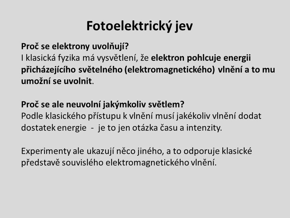 Fotoelektrický jev Proč se elektrony uvolňují? I klasická fyzika má vysvětlení, že elektron pohlcuje energii přicházejícího světelného (elektromagneti
