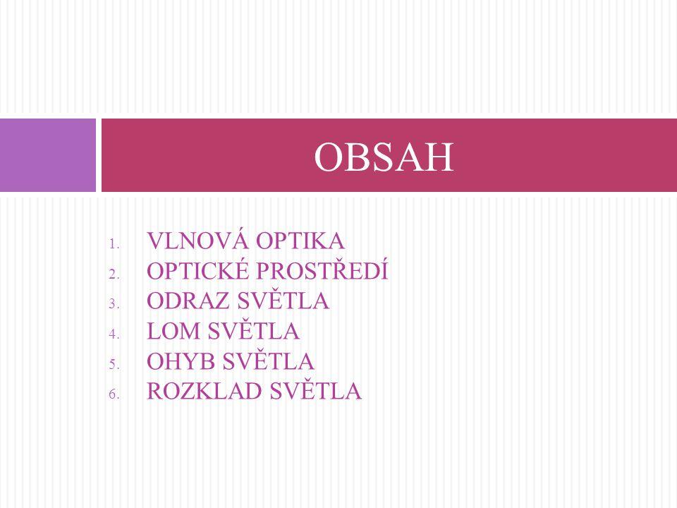 1. VLNOVÁ OPTIKA 2. OPTICKÉ PROSTŘEDÍ 3. ODRAZ SVĚTLA 4. LOM SVĚTLA 5. OHYB SVĚTLA 6. ROZKLAD SVĚTLA OBSAH