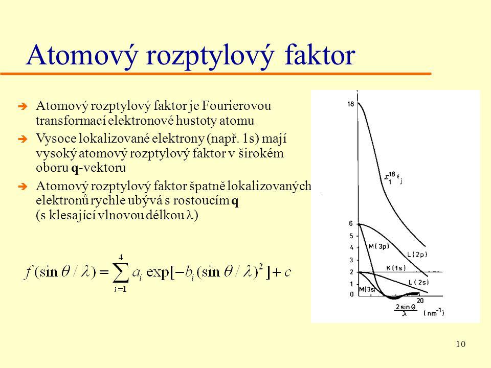 10 è Atomový rozptylový faktor je Fourierovou transformací elektronové hustoty atomu è Vysoce lokalizované elektrony (např.