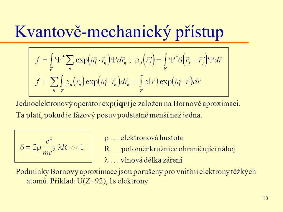 13 Kvantově-mechanický přístup Jednoelektronový operátor exp(iqr) je založen na Bornově aproximaci.
