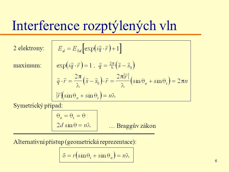 6 Interference rozptýlených vln 2 elektrony: maximum: Symetrický případ: … Braggův zákon Alternativní přístup (geometrická reprezentace):