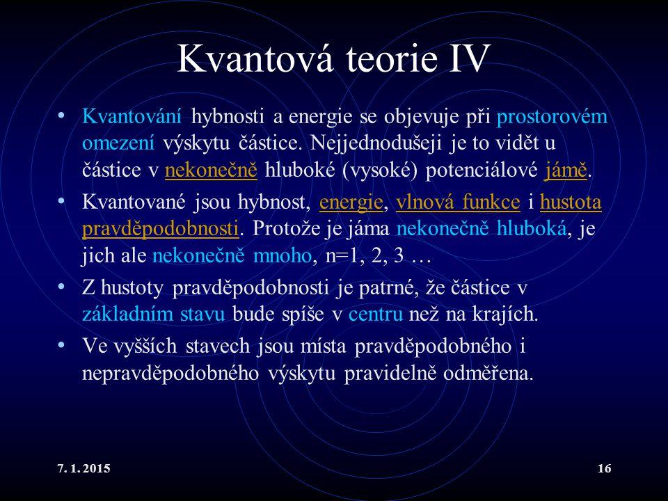 7. 1. 201516 Kvantová teorie IV Kvantování hybnosti a energie se objevuje při prostorovém omezení výskytu částice. Nejjednodušeji je to vidět u částic