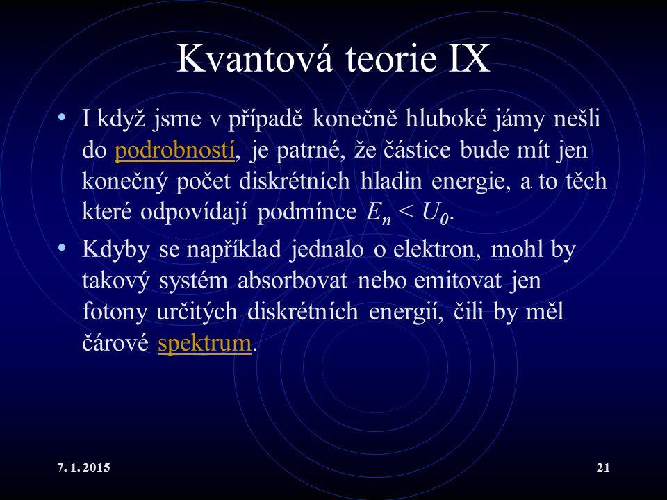 7. 1. 201521 Kvantová teorie IX I když jsme v případě konečně hluboké jámy nešli do podrobností, je patrné, že částice bude mít jen konečný počet disk
