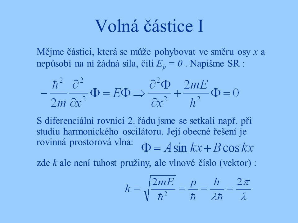 Volná částice I S diferenciální rovnicí 2. řádu jsme se setkali např. při studiu harmonického oscilátoru. Její obecné řešení je rovinná prostorová vln