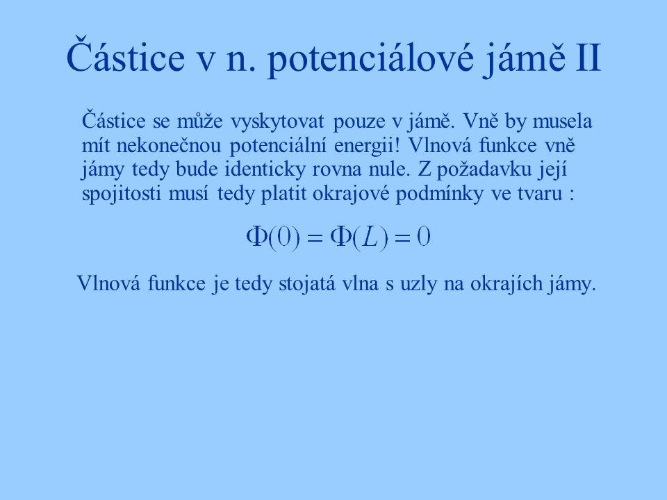 Částice v n. potenciálové jámě II Částice se může vyskytovat pouze v jámě. Vně by musela mít nekonečnou potenciální energii! Vlnová funkce vně jámy te