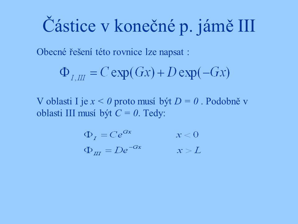 Částice v konečné p. jámě III V oblasti I je x < 0 proto musí být D = 0. Podobně v oblasti III musí být C = 0. Tedy: Obecné řešení této rovnice lze na