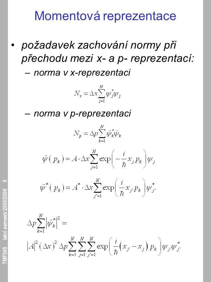 TMF045 letní semestr 2005/2006 II Momentová reprezentace požadavek zachování normy při přechodu mezi x- a p- reprezentací: –norma v x-reprezentaci –no