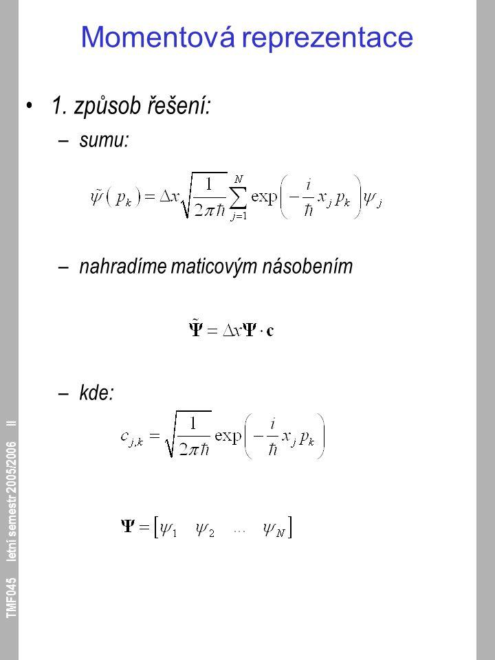 TMF045 letní semestr 2005/2006 II Momentová reprezentace 1. způsob řešení: – sumu: – nahradíme maticovým násobením – kde: