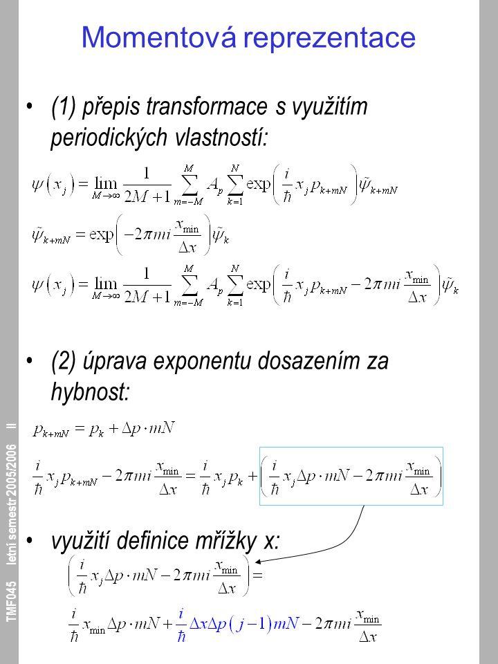 TMF045 letní semestr 2005/2006 II Momentová reprezentace (1) přepis transformace s využitím periodických vlastností: (2) úprava exponentu dosazením za