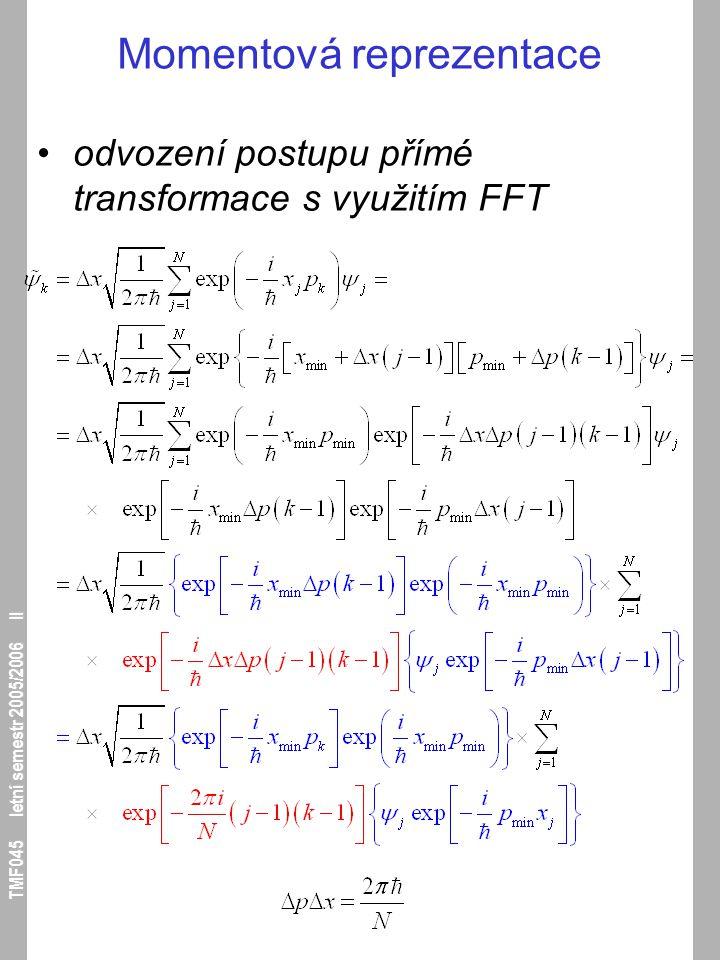 TMF045 letní semestr 2005/2006 II Momentová reprezentace odvození postupu přímé transformace s využitím FFT
