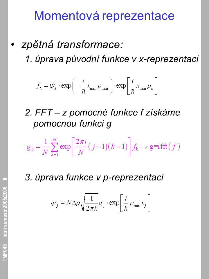 TMF045 letní semestr 2005/2006 II Momentová reprezentace zpětná transformace: 1. úprava původní funkce v x-reprezentaci 2. FFT – z pomocné funkce f zí