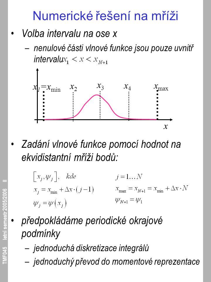 TMF045 letní semestr 2005/2006 II Numerické řešení na mříži Volba intervalu na ose x – nenulové části vlnové funkce jsou pouze uvnitř intervalu Zadání