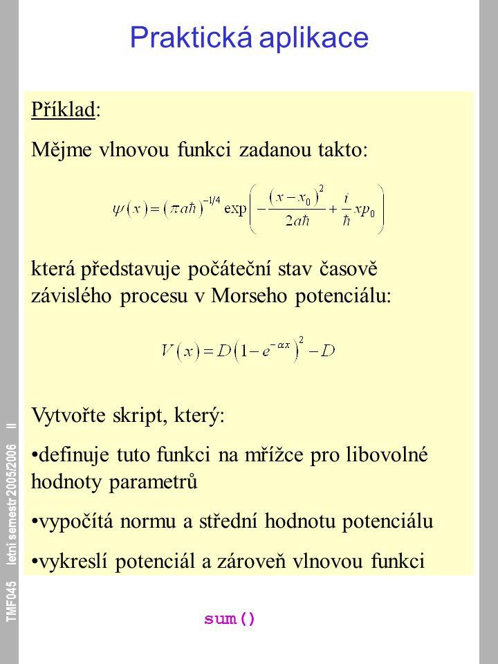 TMF045 letní semestr 2005/2006 II Praktická aplikace Příklad: Mějme vlnovou funkci zadanou takto: která představuje počáteční stav časově závislého pr