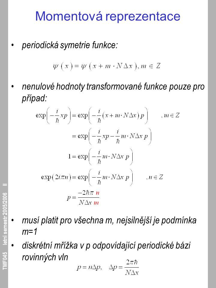 TMF045 letní semestr 2005/2006 II Momentová reprezentace periodická symetrie funkce: nenulové hodnoty transformované funkce pouze pro případ: musí pla