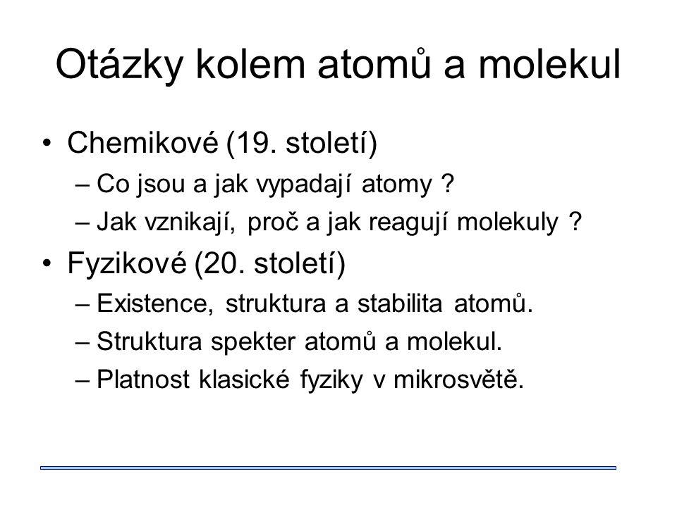 Otázky kolem atomů a molekul Chemikové (19. století) –Co jsou a jak vypadají atomy .
