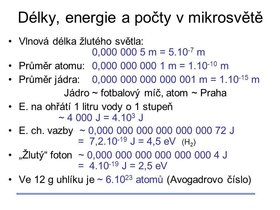 Délky, energie a počty v mikrosvětě Vlnová délka žlutého světla: 0,000 000 5 m = 5.10 -7 m Průměr atomu:0,000 000 000 1 m = 1.10 -10 m Průměr jádra:0,000 000 000 000 001 m = 1.10 -15 m Jádro ~ fotbalový míč, atom ~ Praha E.