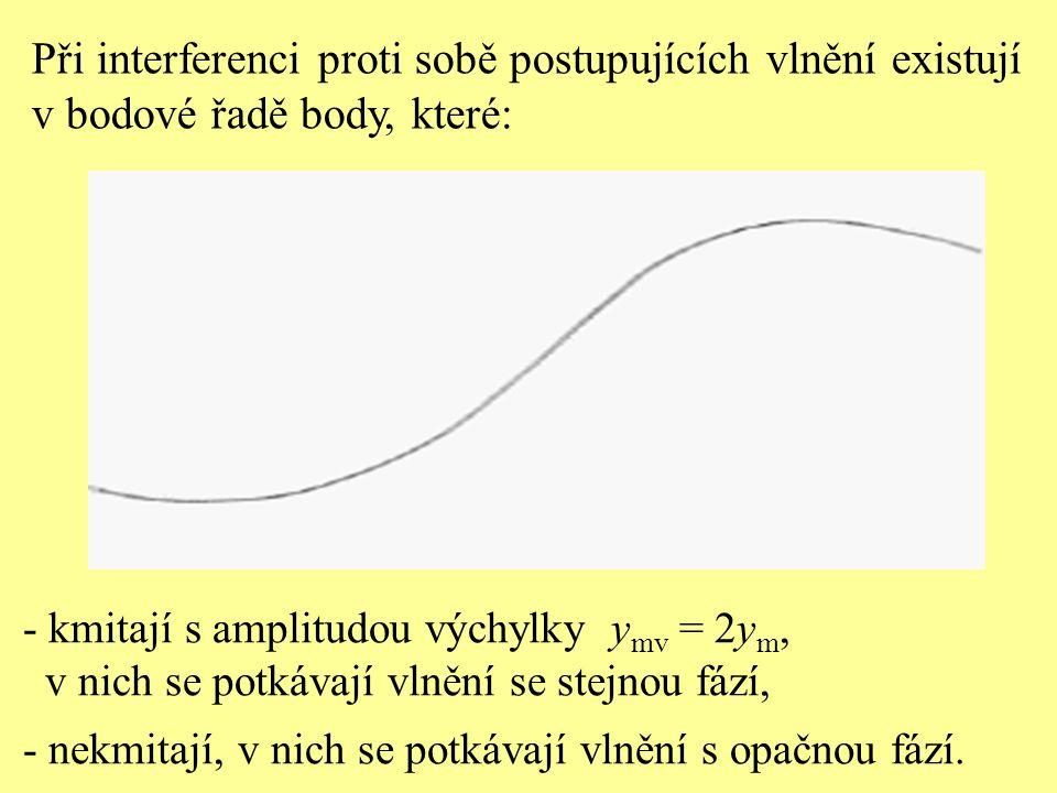 Při interferenci proti sobě postupujících vlnění existují v bodové řadě body, které: - kmitají s amplitudou výchylky y mv = 2y m, v nich se potkávají