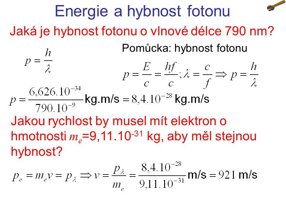 Částicově vlnový dualismus Jaká je vlnová délka elektronu urychleného napětím 100 V?