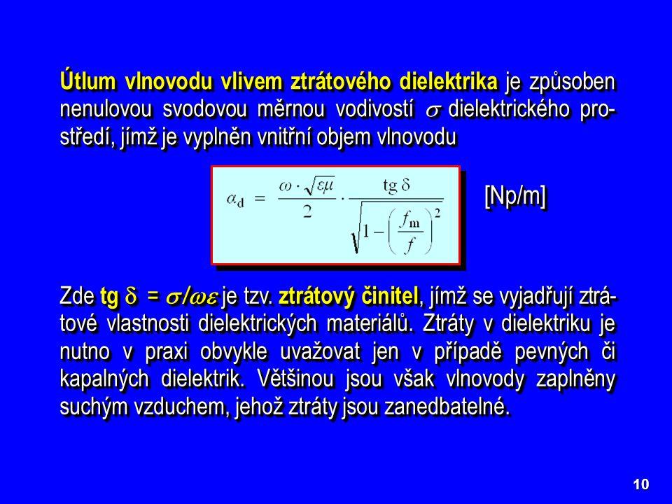 10 Útlum vlnovodu vlivem ztrátového dielektrika je způsoben nenulovou svodovou měrnou vodivostí  dielektrického pro- středí, jímž je vyplněn vnitřní