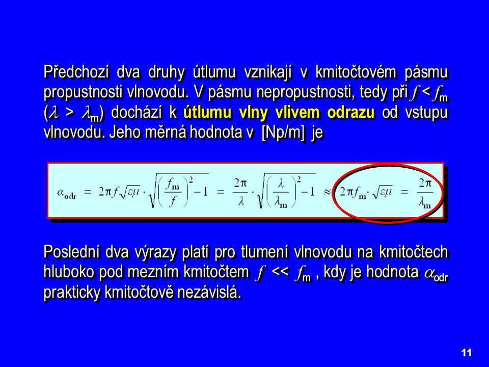 11 Předchozí dva druhy útlumu vznikají v kmitočtovém pásmu propustnosti vlnovodu. V pásmu nepropustnosti, tedy při f m ) dochází k útlumu vlny vlivem