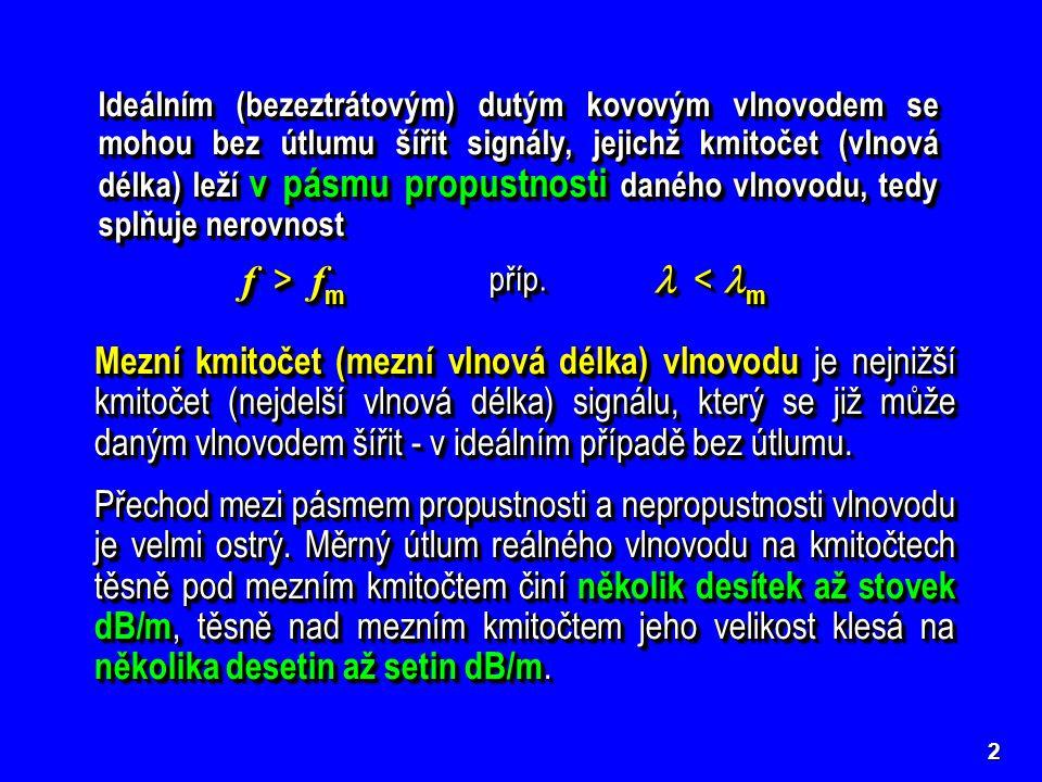2 Ideálním (bezeztrátovým) dutým kovovým vlnovodem se mohou bez útlumu šířit signály, jejichž kmitočet (vlnová délka) leží v pásmu propustnosti daného