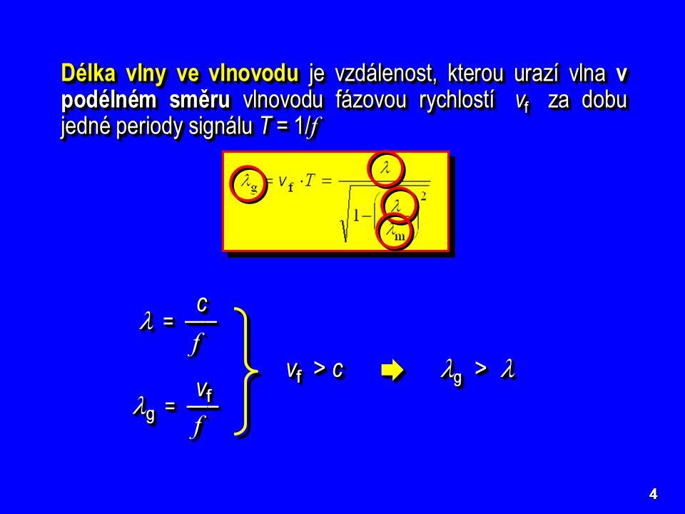4 Délka vlny ve vlnovodu je vzdálenost, kterou urazí vlna v podélném směru vlnovodu fázovou rychlostí v f za dobu jedné periody signálu T = 1/ f V pás