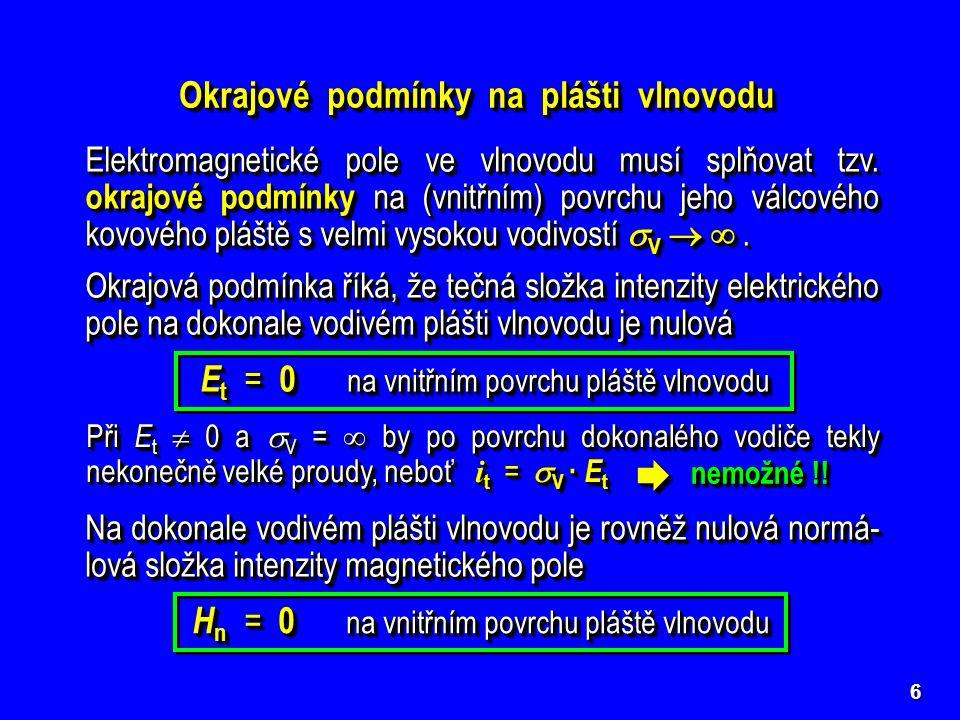 Okrajové podmínky na plášti vlnovodu Elektromagnetické pole ve vlnovodu musí splňovat tzv. okrajové podmínky na (vnitřním) povrchu jeho válcového kovo