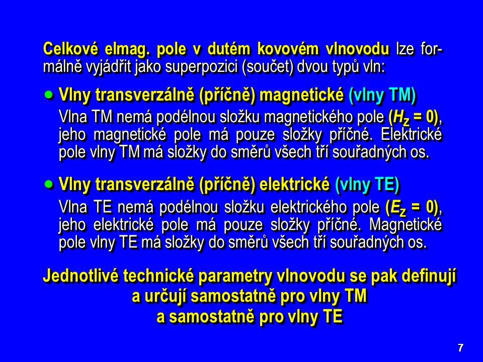 8 Charakteristická impedance vlny ve vlnovodu je definována jako podíl komplexních amplitud příčných složek intenzit elektrického a magnetického pole ve vlnovodu V pásmu propustnosti vlnovodu je Z 0 reálná : pro vlnu TM je menší než hodnota (  /  ) 1/2, pro vlnu TE je větší než (  /  ) 1/2.