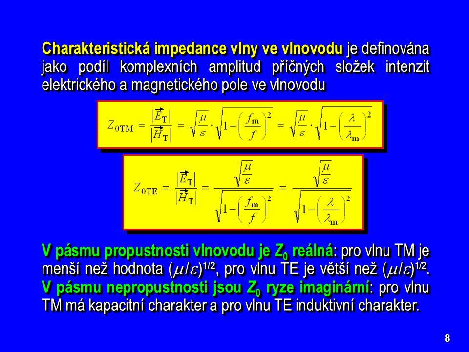 8 Charakteristická impedance vlny ve vlnovodu je definována jako podíl komplexních amplitud příčných složek intenzit elektrického a magnetického pole