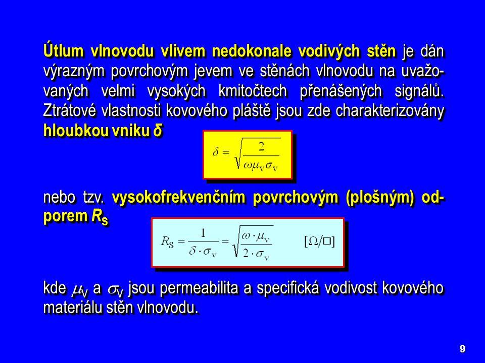 10 Útlum vlnovodu vlivem ztrátového dielektrika je způsoben nenulovou svodovou měrnou vodivostí  dielektrického pro- středí, jímž je vyplněn vnitřní objem vlnovodu [Np/m] Zde tg  =  /  je tzv.