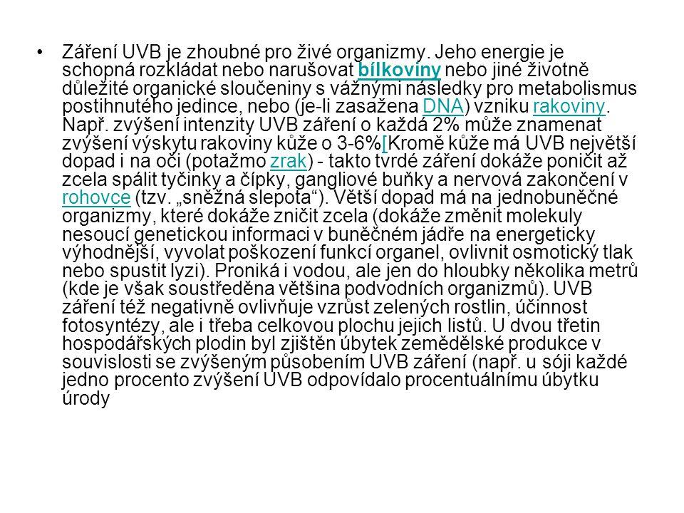 Záření UVB je zhoubné pro živé organizmy. Jeho energie je schopná rozkládat nebo narušovat bílkoviny nebo jiné životně důležité organické sloučeniny s