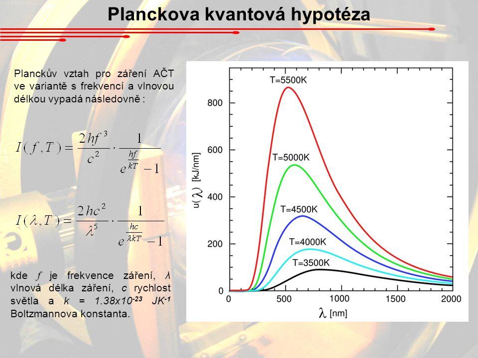 Planckova kvantová hypotéza kde f je frekvence záření, λ vlnová délka záření, c rychlost světla a k = 1.38x10 -23 JK -1 Boltzmannova konstanta.