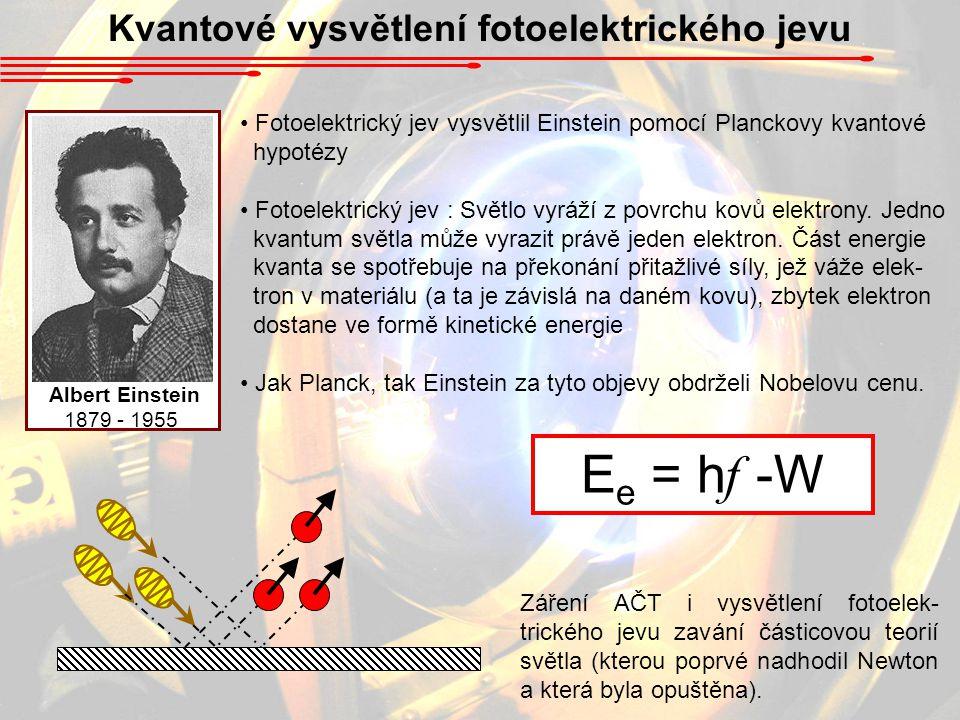 Kvantové vysvětlení fotoelektrického jevu Fotoelektrický jev vysvětlil Einstein pomocí Planckovy kvantové hypotézy Fotoelektrický jev : Světlo vyráží z povrchu kovů elektrony.