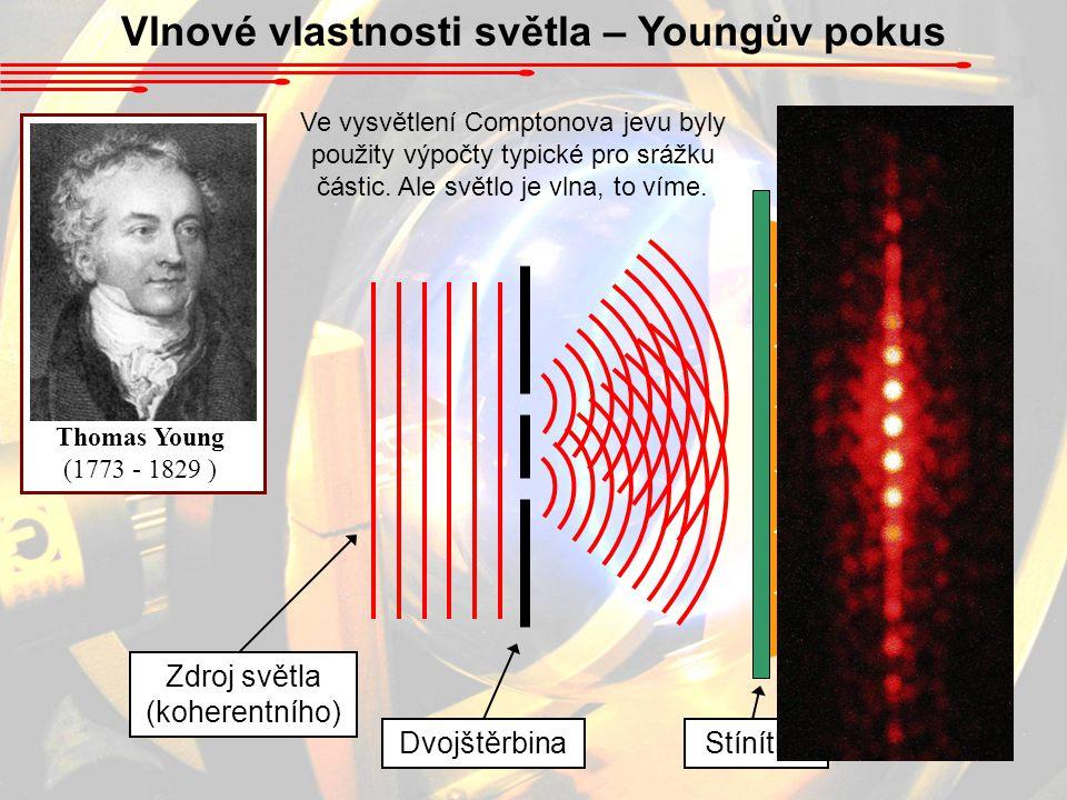 Vlnové vlastnosti světla – Youngův pokus DvojštěrbinaStínítko Zdroj světla (koherentního) Thomas Young (1773 - 1829 ) Ve vysvětlení Comptonova jevu byly použity výpočty typické pro srážku částic.