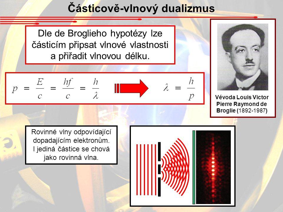 Částicově-vlnový dualizmus Dle de Broglieho hypotézy lze částicím připsat vlnové vlastnosti a přiřadit vlnovou délku.
