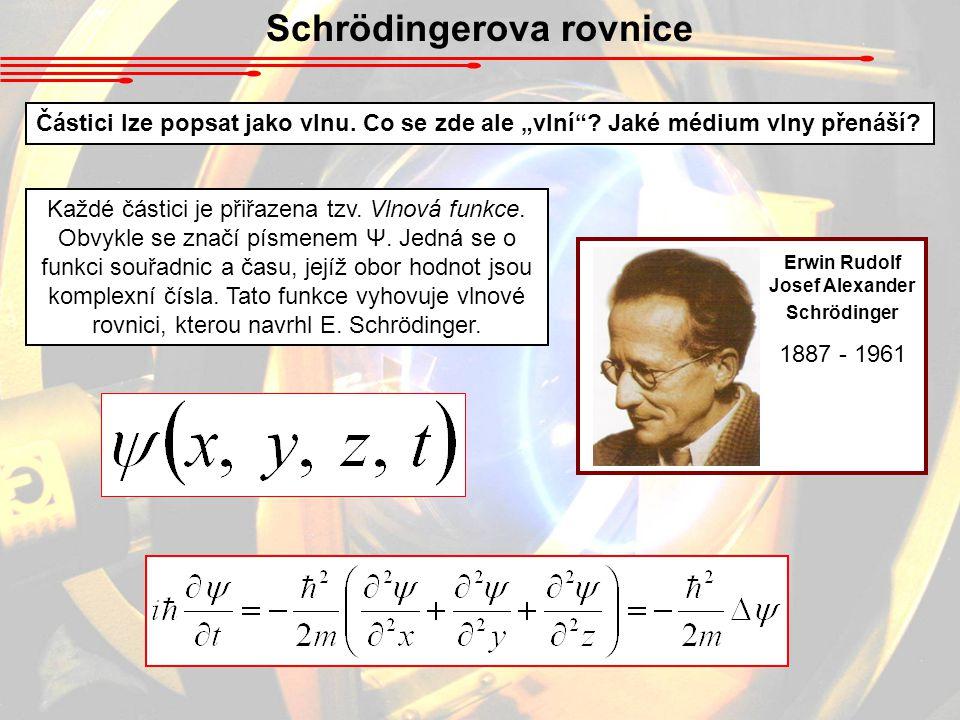 Schrödingerova rovnice Částici lze popsat jako vlnu.