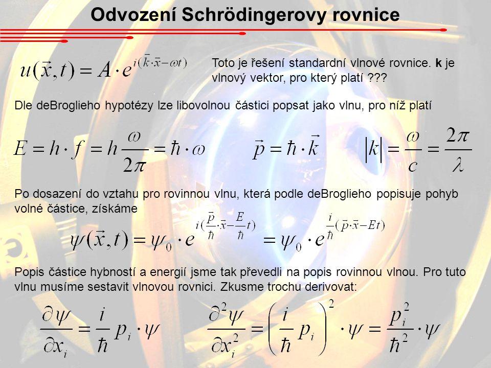 Odvození Schrödingerovy rovnice Toto je řešení standardní vlnové rovnice.