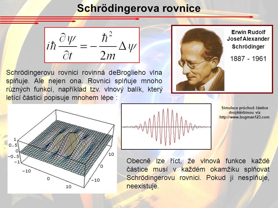 Schrödingerovu rovnici rovinná deBroglieho vlna splňuje.