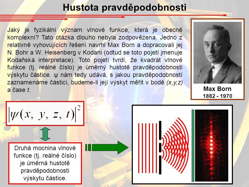 Hustota pravděpodobnosti Jaký je fyzikální význam vlnové funkce, která je obecně komplexní.