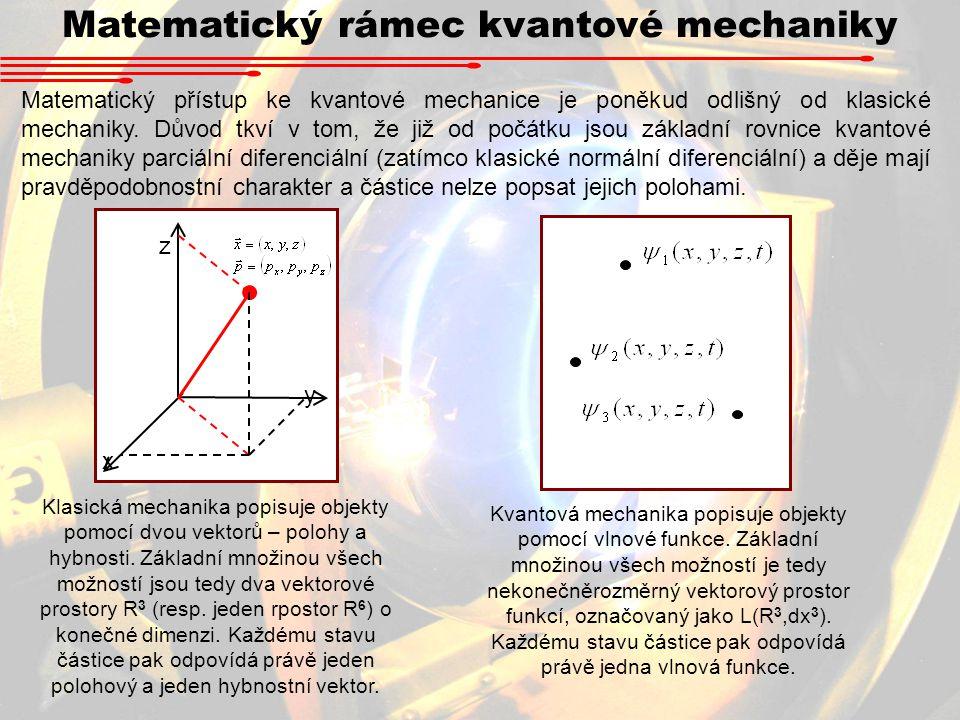 Matematický rámec kvantové mechaniky Matematický přístup ke kvantové mechanice je poněkud odlišný od klasické mechaniky.